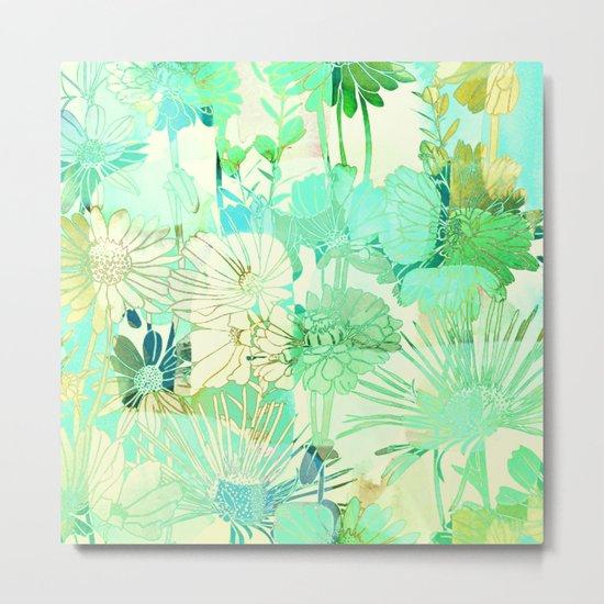 turquoise floral Metal Print