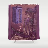 hallion Shower Curtains featuring You Comin' Blondie?  by Karen Hallion Illustrations