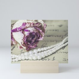 love letter with pearls and rose Mini Art Print