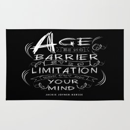Age is no barrier Life Inspirational Typography Quote Design Rug