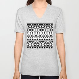 Aztec Essence Ptn III Black on White Unisex V-Neck