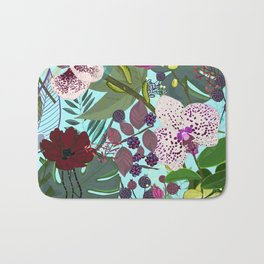 Orchid and Cosmos Flower Botanical Floral Pattern Bath Mat