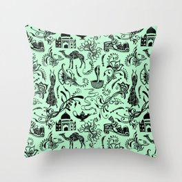 Arabian Nights // Light Green Throw Pillow
