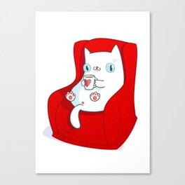 Kitty Loves Tea Canvas Print