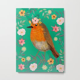 Robin Bird with flowers Metal Print