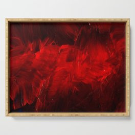 Red And Black Luxury Abstract Gothic Glam Chic by Corbin Henry Serving Tray