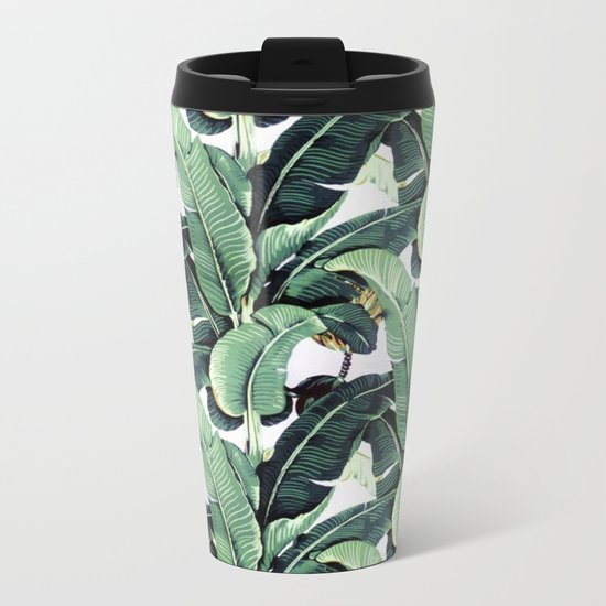 Leaf pattern Metal Travel Mug