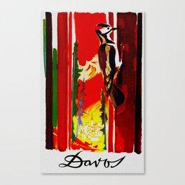 Vintage Davos Switzerland Travel - Woodpecker Canvas Print