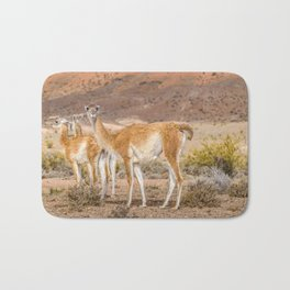 Group of Guanacos at Patagonia, Argentina Bath Mat