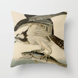 Vintage Osprey Catching a Fish Illustration (1838) Throw Pillow