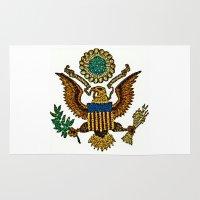 patriotic Area & Throw Rugs featuring Patriotic Eagle by manderjack