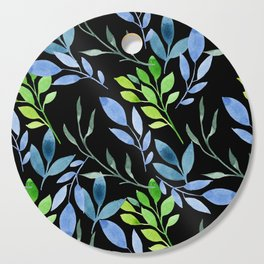Blue and Green Leaves Cutting Board