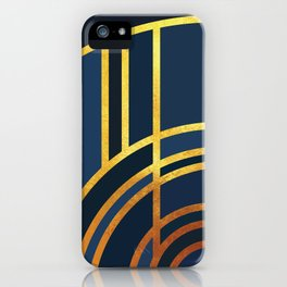 Art Deco Morning Sun In Navy Blue iPhone Case