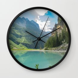 Digital Painting of a Less Popular Side of Lake Louise in Banff National Park, Alberta Wall Clock