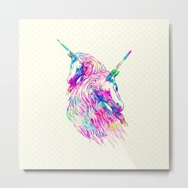 Watercolor Unicorns Abstract Rainbow Neon Colors Metal Print
