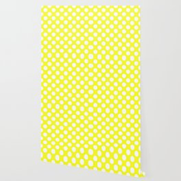 Yellow With Large White Polka Dots Wallpaper