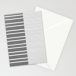 The Piano Black and White Keyboard with Horizontal Stripes Stationery Cards