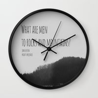 jane austen Wall Clocks featuring Mountains Jane Austen by KimberosePhotography