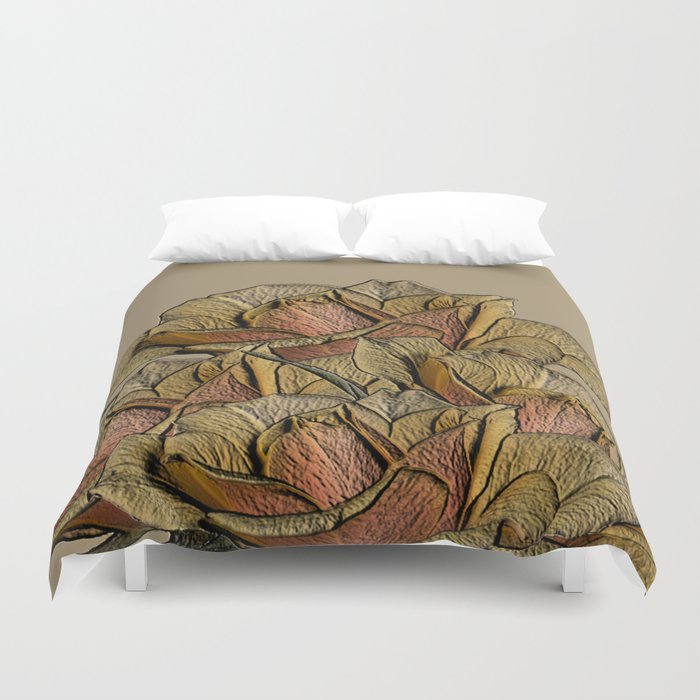 Elegant Copper and Bronze Roses Duvet Cover