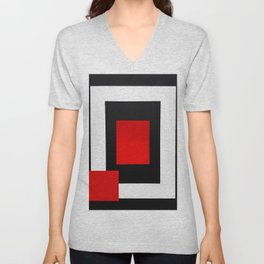 Geometric Abstraction - Red Unisex V-Neck