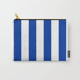 Dark Princess Blue and White Wide Vertical Cabana Tent Stripe Carry-All Pouch
