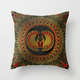 Egyptian Scarab Beetle - Gold and red  metallic Throw Pillow