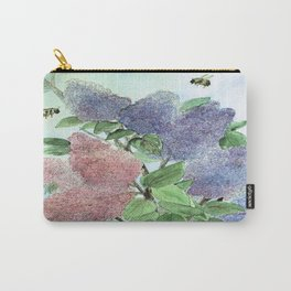 Lilacs and Bees Watercolor Painting Carry-All Pouch