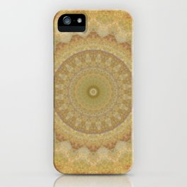 Topaz Gold Sun Marble Mandala iPhone Case