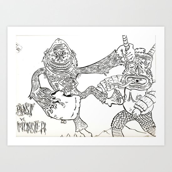 Beast Vs. Monster Art Print