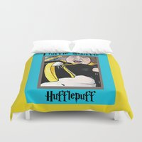 hufflepuff Duvet Covers featuring Truffle Shuffle Hufflepuff by Portraits on the Periphery
