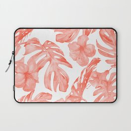 Tropical Hibiscus and Palm Leaves Dark Coral White Laptop Sleeve