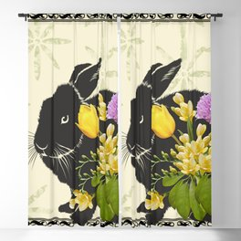 Bunny with Spring Flowers Blackout Curtain