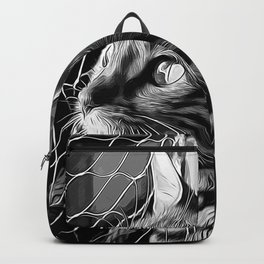bengal cat yearns for freedom vector art black white Backpack