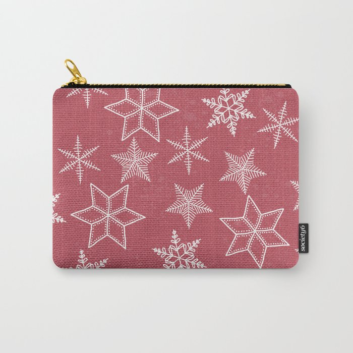 Snowflakes On Pastel Red Background Carry-All Pouch