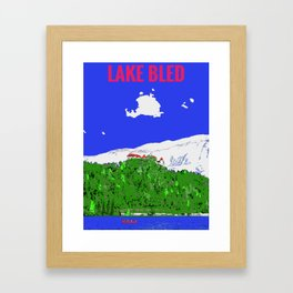 Lake Bled Castle on Cliff Paint on Photo Framed Art Print
