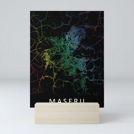 Maseru, Lesotho, City, Map, Rainbow, Map, Art, Print Mini Art Print
