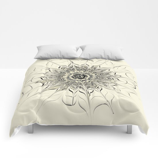 Monochrome Abstract Flower Comforters