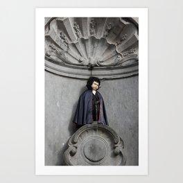 Manneken Pis In Brussels Dressed As Dracula Art Print