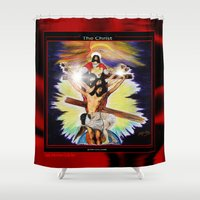 christ Shower Curtains featuring THE CHRIST by KEVIN CURTIS BARR'S ART OF FAMOUS FACES