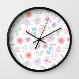Pastel pink lilac watercolor hand painted modern floral Wall Clock