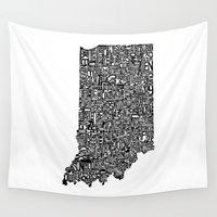 indiana Wall Tapestries featuring Typographic Indiana by CAPow!