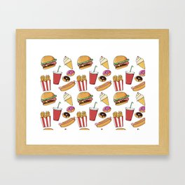 Fast Food Pattern Framed Art Print