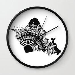 The Island of Oahu [Tribal Illustration] Wall Clock