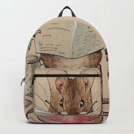 Cute little mouse reading a newspaper Backpack