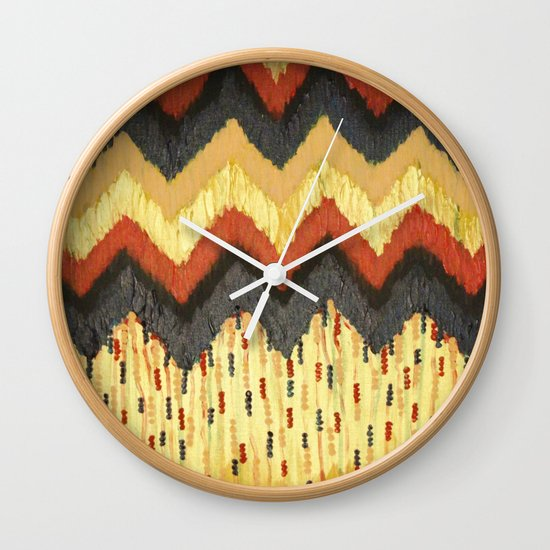 SHINE ON - Gold Glam Chevron Colorful Abstract Acrylic Pattern Painting Modern Home Decor Fine Art Wall Clock
