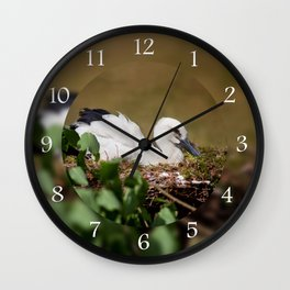 Ciconia ciconia child sitting Wall Clock