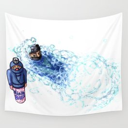 Ninja Stealthily Disappears into Bubble Bath Wall Tapestry