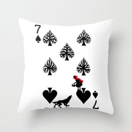 Curator Deck: The 7 of Spades Throw Pillow