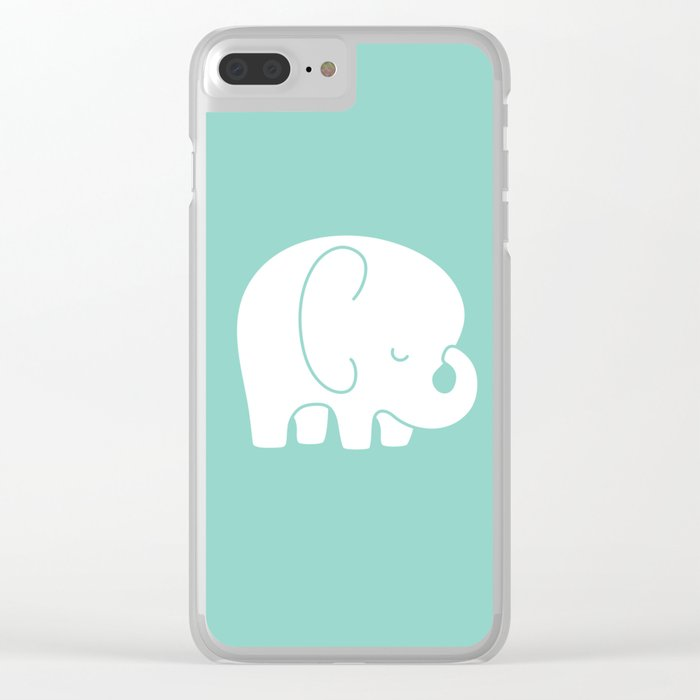Mod Baby Elephant Teal Clear iPhone Case