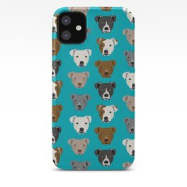 Pitbull faces dog art dog pattern pitbulls cute gifts for rescue dog owners iPhone Case